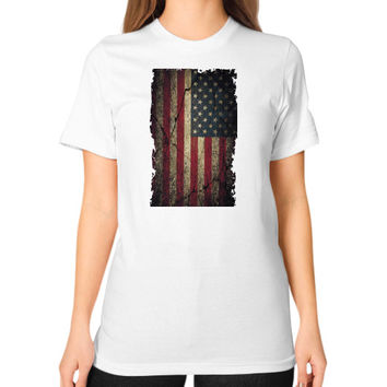 American Flag Ripped Grunge Unisex T-Shirt (on woman)