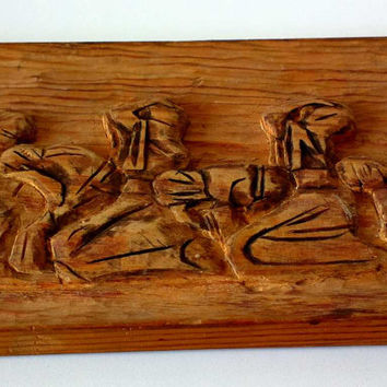 "Vintage wooden panel, hand-carved, carving, ""Prayer"", Bulgarian folklore, 70s, unique"