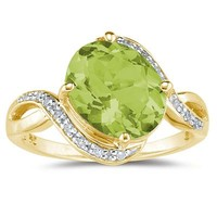 Oval Shaped  Peridot  and Diamond Curve Ring in 10K Yellow  Gold