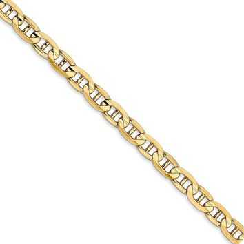4.5mm 14k Yellow Gold Solid Concave Anchor Chain Necklace