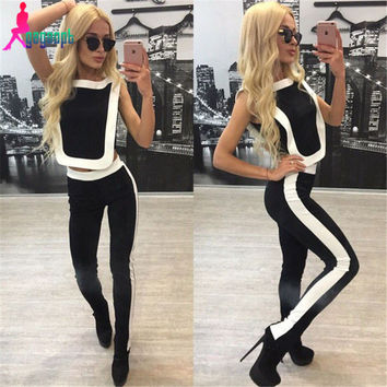 Gagaopt 2016 Womens Set Summer Sport Black With White Halter Top + Long Pants Suit Set Casual Women Tracksuit Free Shipping