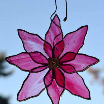 3D Clematis Flower Suncatcher, 3d, Pink Flower, Stained Glass, Rhinestone Centre, Window Decoration, Hostess Gift, Gift Bow, Patio Decor