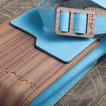 Wood and genuine leather Ipad bag, Handmade Crossbody Bag, Man Woman Pouch, IPad Bag, Man Cross Body Bag, Handmade IPad Bag