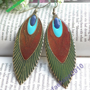 Pretty retro copper colorful glaze peacock by toofashion2010