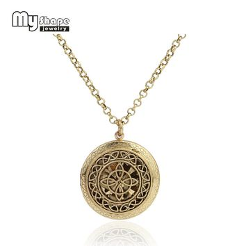 my shape Steampunk Aromatherapy Essential Oil Diffuser Necklace Hollow Complicated Figure Locket Round Pendant With 5 Pads