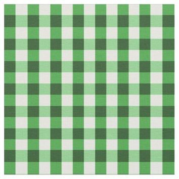 Forest Green Gingham Pattern Fabric