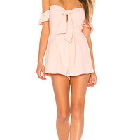 About Us Dayana Tie Front Off Shoulder Romper in Blush Pink