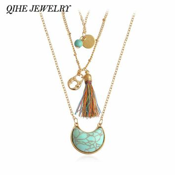 QIHE JEWELRY Layering Necklace With Horn White Blue Stone Tassel Charm Delicate Dainty Long Chain Hippie Boho Jewelry