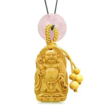 Laughing Buddha Blooming Lotus Car Charm Home Decor Rose Quartz Coin Donut Protection Powers Amulet