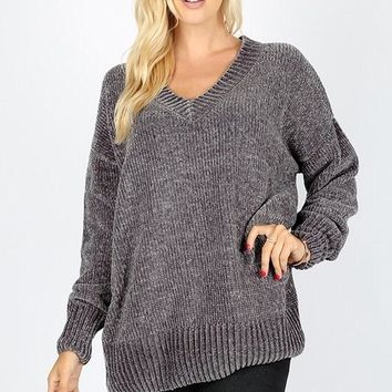 Velvet Yarn V-Neck Sweater - Ash Gray