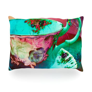 "alyZen Moonshadow ""Mad Hatters T-Party VI"" Teal Pink Oblong Pillow"