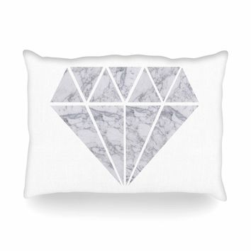 "NL Designs ""Marble Diamond"" Gray White Digital Oblong Pillow"