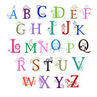 "vinyl wall art 26 11"" LETTER FULL ALPHABET sticker decals nursery decor wall sticker wall decor"