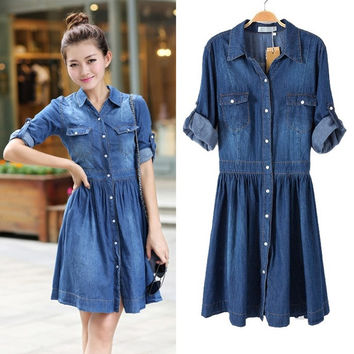 Women Fashion Casual Loose Denim Jeans Elastic waist Button Down Shirt Dress A_L = 1655765764