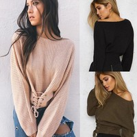 Stephanie Corset Knit Sweater - Women Long Sleeve Oversized Loose Knitted Sweater Jumper Cardigan Outwear Coat