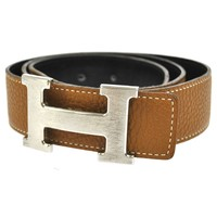 Authentic HERMES Vintage H Buckle Constance Reversible Belt Black Brown S03323