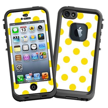 Sunshine Polka Dot on White Skin for the iPhone 5 Lifeproof Case by skinzy.com