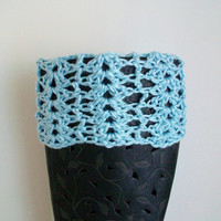 Ready to Ship! Lace Boot Cuffs Light Blue or Mint Green Crochet Boot Toppers, Legwarmers
