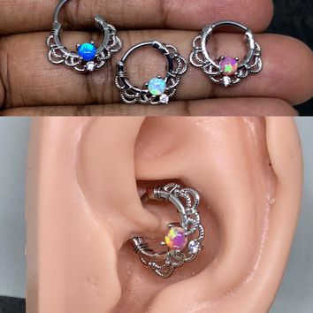 16 gauge Stainless steep Wire wrapped Septum Clicker,  Fire Opal Ring, Tribal Septum Ring Daith Hoop