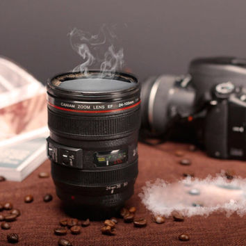 400ML Camera Lens Mugs Plastic Coffee Cup