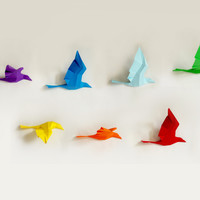 Rainbow Birds in Flight Papercraft Kit