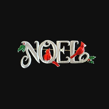 JJ Jonette Christmas Noel Brooch Pin, Pewter With Red Cardinals, Green And Red Holly