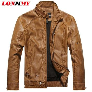 LONMMY M-3XL Male leather jacket Slim Stand collar Faux Suede coat PU Leather jacket men Casual jaqueta de couro 2017 Autumn