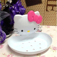 Hello Kitty Soap Box Soap Dish Soap Holder with Suction Robe Accessories for Bathroom Retai Free shipping