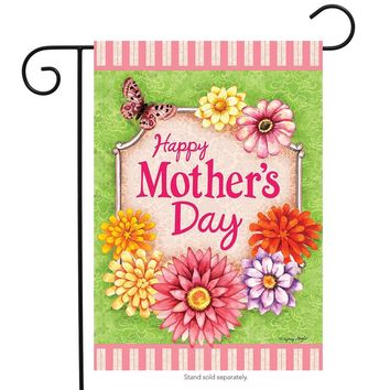 "Happy Mother's Day Floral Garden Flag Butterfly Flowers 12.5""x18"" Briarwood Lane"