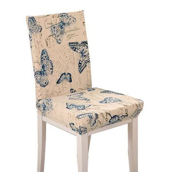 Butterfly Pattern Chair Covers Jacquard Stretch Chair Covers For Dining Room Decoration Short Half Machine Washable HGTXTBCR014