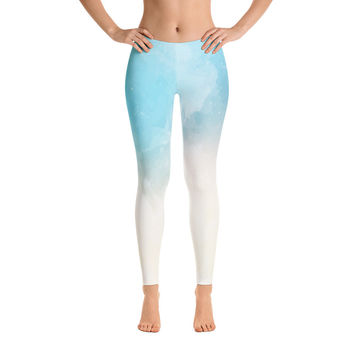Tranquility Sky Leggings for Women - Stylish Durable Novelty Leggings - Cut, Sewn, and Printed in California