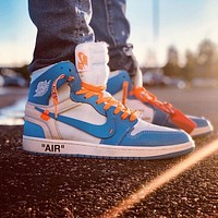 NIKE AIR JORDAN 1 X OFF-WHITE AJ1 OW Fashion Casual Women Men High Top Sport Sneakers Shoes Blue&White