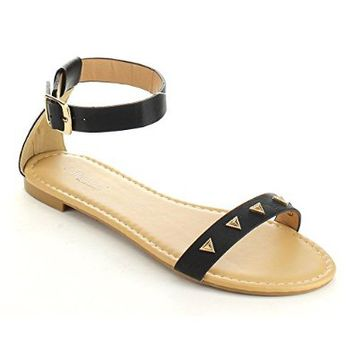 DOLLHOUSE WISHES Women's Metallic Deco Ankle Strap Simple Comfy Flat Sandals