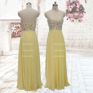 Strapless Rhinestone Bodice Chiffon Floor Length Prom Dresses/Evening Dresses/Celebrity Dress/Custom Dress/X097