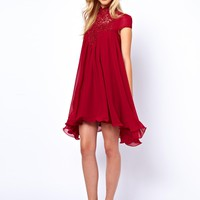 Lydia Bright Swing Dress With Lace Neck