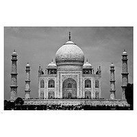THE TAJ MAHAL agra, india BLACK AND WHITE photography poster HISTORIC 24X36