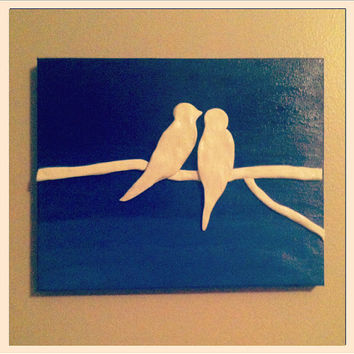 8 x 10 Blue Ombre canvas painting with clay love birds sculptures on a branch