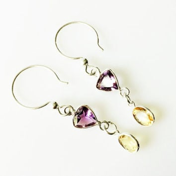 Amethyst and Citrine Earrings, 925 Sterling Silver Geometric Semi Precious Gemstones, Purple and Gold Bezel Set Faceted, Womens Earrings