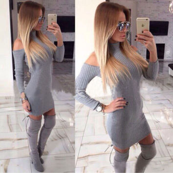 Gray Off The Shoulder Long Sleeve Knit Dress