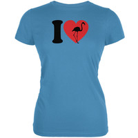 I Heart Love Flamingo Flamingoes Aqua Juniors Soft T-Shirt