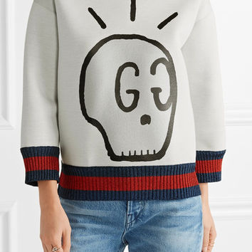 Gucci - Metallic-trimmed printed neoprene sweatshirt