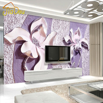 Customize Any Size 3D Relief Purple Magnolia Bedroom TV Background Wall Paper Home Decor Living Room Non-woven Mural Wallpaper