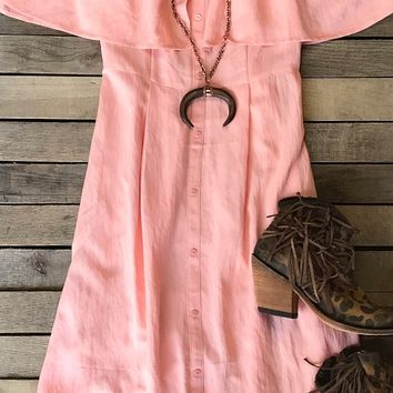 Our ''Camera's Flashing'' Dress is precious for any true southern gal!Cold shoulder, sleeveless with ruffle overlay, spaghetti straps, button detail, empire waist, flowy bottom, unlined.