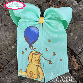 Classic pooh bear, pooh, wearable art, disney, handpainted, photo prop, painted bows, cheer bow, bows, baby bows hair bows
