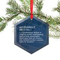 Architect Definition Funny Glass Christmas Ornament