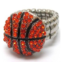 Crystal 'Bling' Basketball Stretch Ring