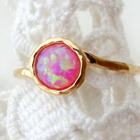 SALE - Pink Opal ring, Gemstone ring,  stacking ring, Gold ring, pink stone ring, October birthstone ring, dainty ring, Textured ring