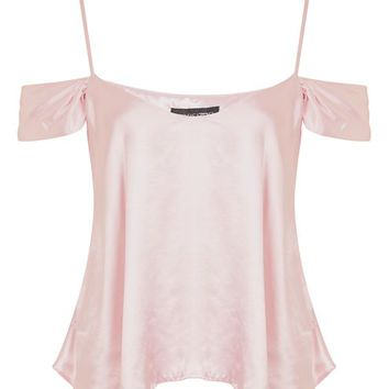 Satin Rouleau Cold Shoulder Camisol Top - Tops - Clothing