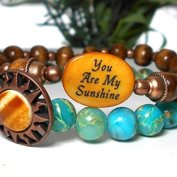 You Are My Sunshine, Personal Bracelet, Inspirational Bracelet, Gift for Daughter, Wife, Girlfriend,