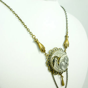 SteamPunk Neo-VictorianNecklace with Elgin Vintage Pocket Watch Movement on Pendant, Helping Hands and Bronze drop by VictorianFolly
